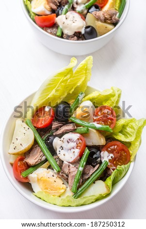 Bowl of Healthy Nicoise Salad on White Background - stock photo