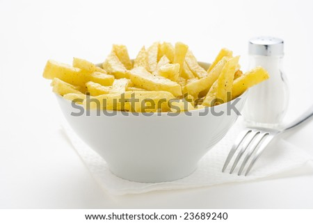 bowl of homemade chips isolation on a white background