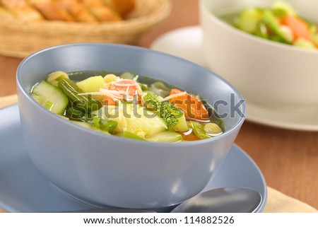 Bowl of homemade vegetarian Italian minestrone soup made of green beans, zucchini, carrots, potatoes, leek and shell pasta with grated cheese on top (Selective Focus, Focus in the middle of the soup)