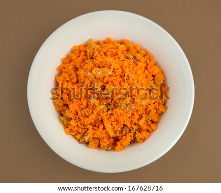 Bowl of leftover fruit and vegetable juicing pulp - stock photo