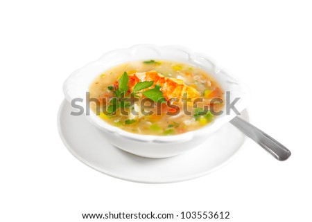 Bowl of lobster seafood chowder soup isolated on white - stock photo