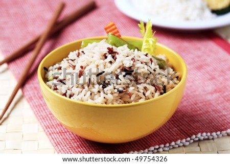 Bowl of mixed rice - stock photo
