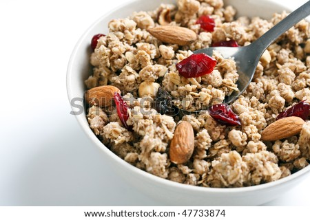 bowl of muesli - stock photo