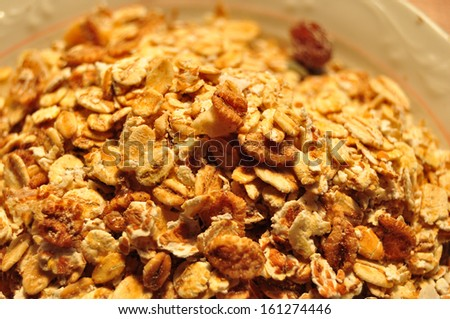 Bowl of Muesli and Dry Fruit Mixed, Healthy Breakfast