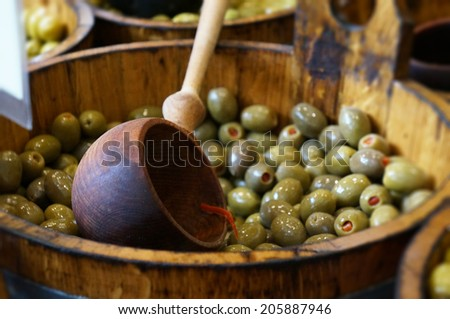 bowl of olives for sale at market - stock photo