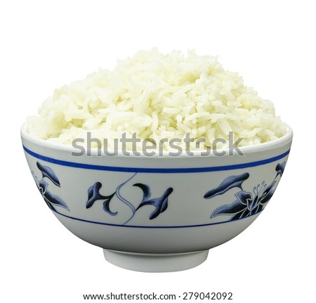 Bowl of organic brown rice isolated on white background - stock photo