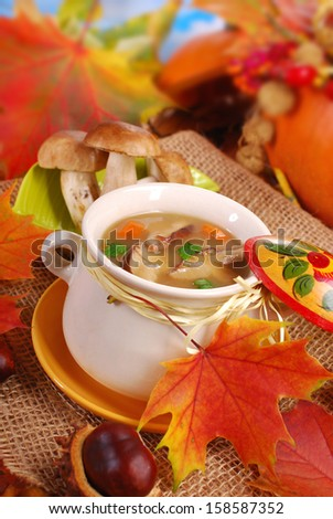 bowl of porcini mushrooms soup in autumn scenery