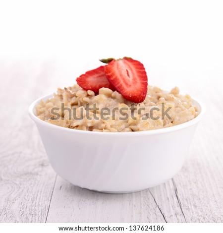 bowl of porridge and berry - stock photo