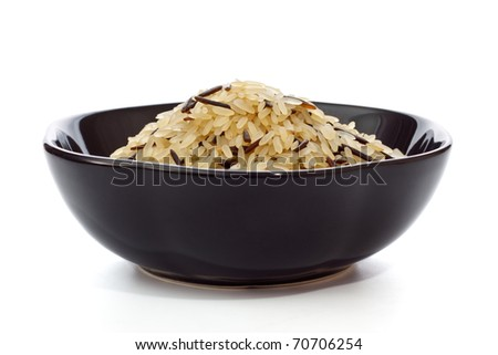 Bowl Of Raw Rice - stock photo