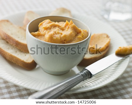Bowl of Rouille with Croutes - stock photo
