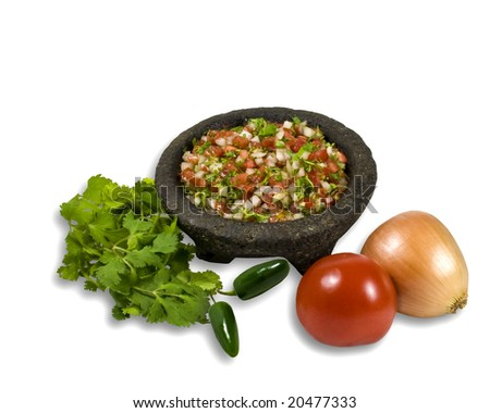 Bowl of Salsa illustrating ingredients - stock photo