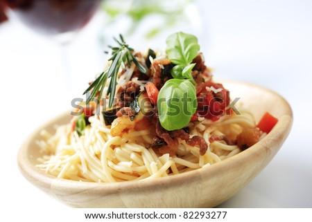 Bowl Spaghetti Ragu Alla Bolognese Stock Photo Royalty Free
