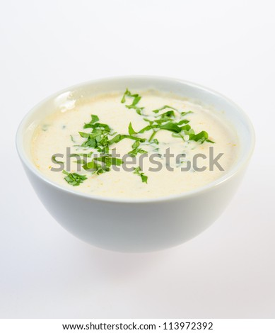 Bowl of thick fish soup over white background - stock photo