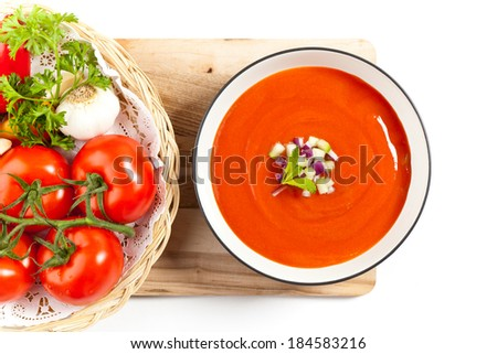 Bowl of tomato soup. Gazpacho. Selective focus. - stock photo