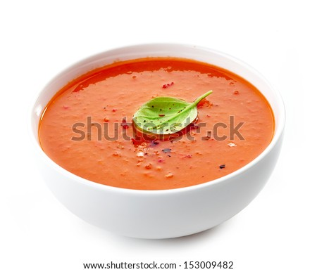 Bowl of tomato soup isolated on a white background - stock photo