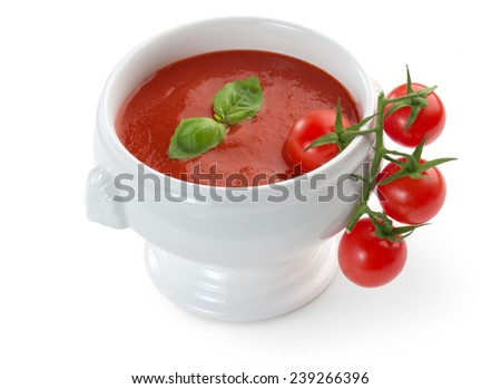 bowl of tomato soup isolated on white background - stock photo