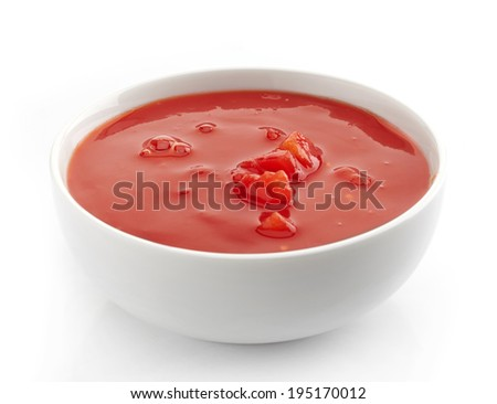 bowl of tomato soup on a white background - stock photo