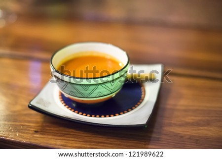 Bowl of traditional South African carrot soup - stock photo