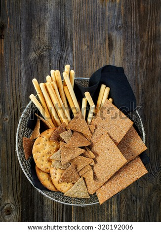 bowl of various salted bread cookies, top view - stock photo