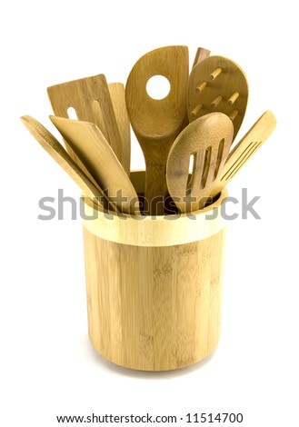 Bowl of Wooden Utensils Isolated on White - stock photo
