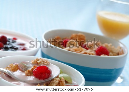 Bowl of yogurt, fruit, granola, cereals making a healthy breakfast - stock photo