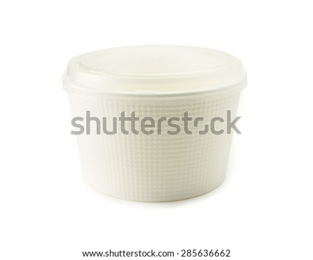 Bowl type food packaging container with transparent lid, isolated on white. Packaging material commonly used for takeout and microwave cooking type foods.  - stock photo