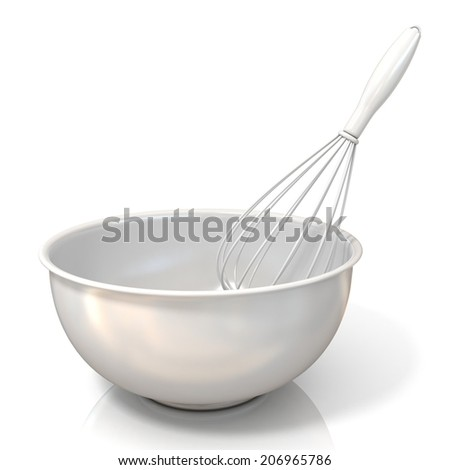 Bowl with a wire whisk, isolated on white - stock photo