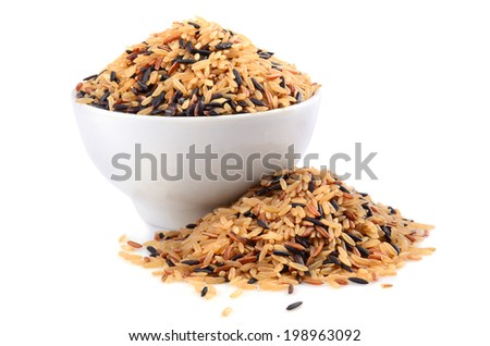 Bowl with brown wild rice isolated on white background - stock photo