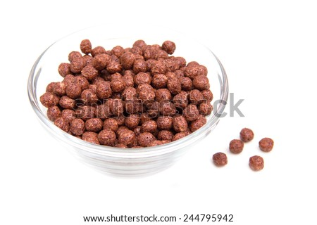 Bowl with chocolate cereal on white background