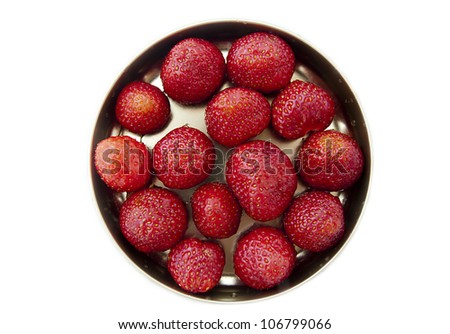 bowl with fresh strawberries on white background - stock photo
