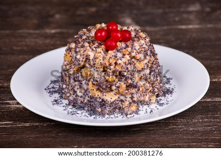 Bowl with kutia - traditional Christmas sweet meal in Ukraine, Belarus and Russia - stock photo