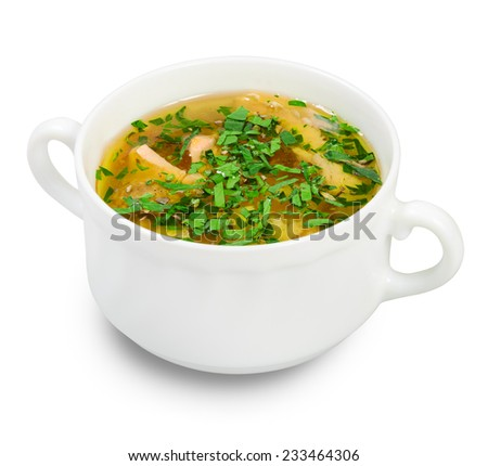 Bowl with miso soup. Isolated on white background. - stock photo