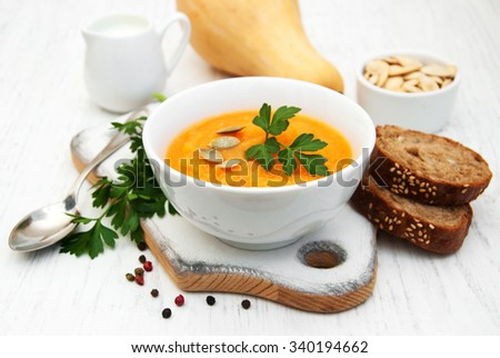 Bowl with Pumpkin soup on a old wooden background