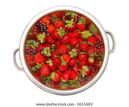 Bowl with strawberries. Isolated on white. - stock photo