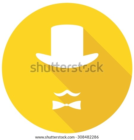 Bowler hat and moustache on long shadow - stock photo