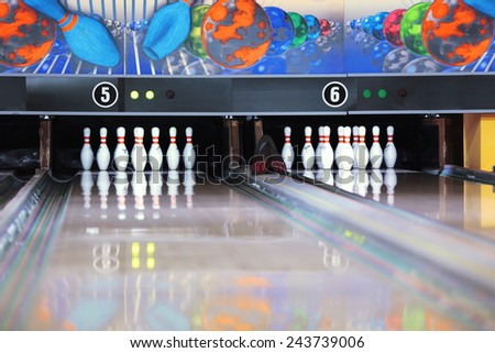 Bowling alley with pins - stock photo