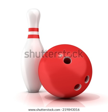 Bowling Ball and pin with red stripes isolated on white background - stock photo