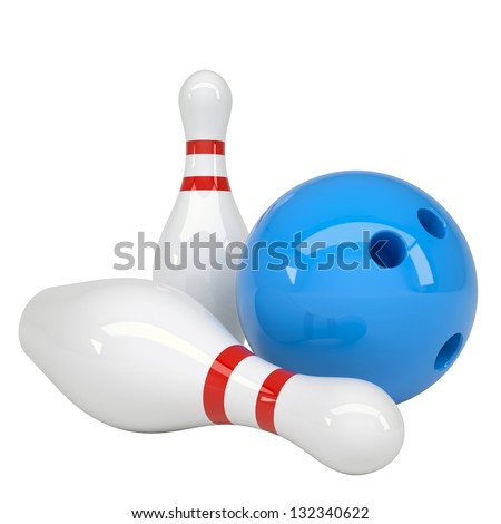 Bowling ball and pins. Isolated render on a white background - stock photo