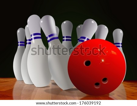 Bowling Ball and Skittle on Wooden Floor  - stock photo