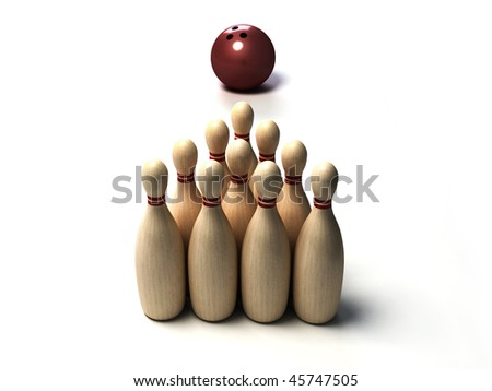 Bowling ball and skittles - stock photo