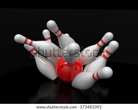 Bowling ball and skittles isolated - stock photo