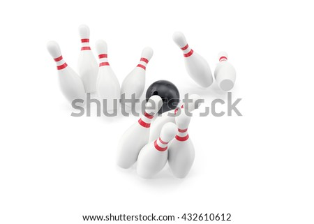 Bowling ball and skittles isolated on white background. 3d illustration - stock photo