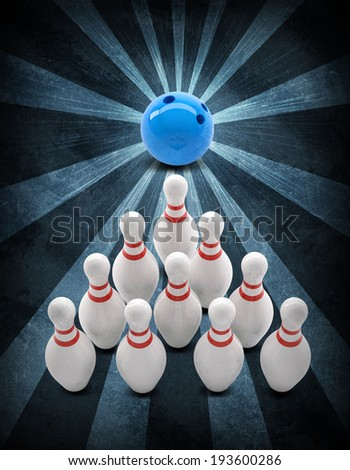 Bowling ball breaks standing pins. Sports background. Grunge style - stock photo