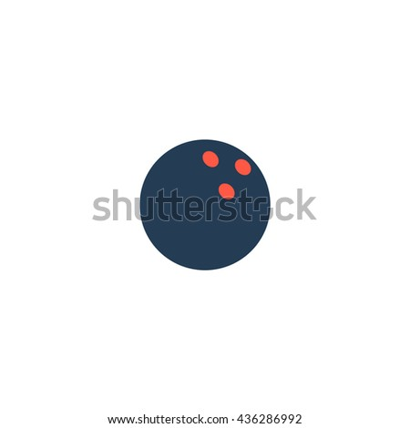 Bowling ball. Color simple flat icon on white background - stock photo