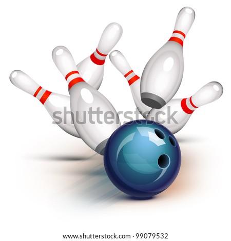 Bowling ball crashing into the pins - stock photo