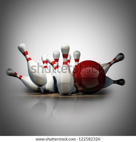Bowling Ball crashing into the pins. High resolution 3d - stock photo