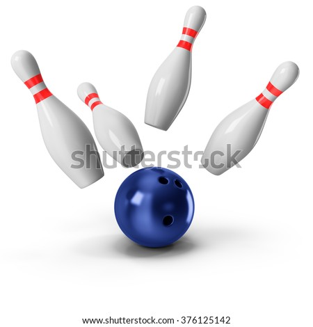 Bowling Ball crashing into the pins on white background - stock photo
