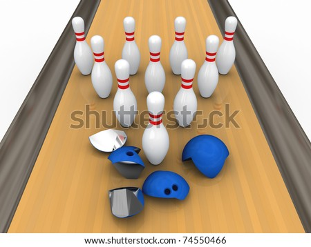 Bowling ball destroyed by pins. Isolated. - stock photo