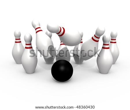 Bowling ball hitting the pins - 3d image - stock photo