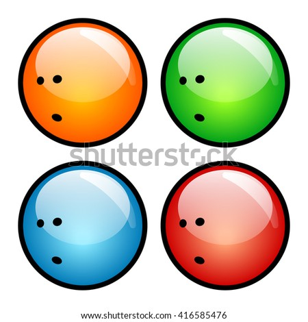 Bowling Ball Icon with Four Glass Button Icon.  Raster Version - stock photo